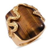 South African Tigers Eye, Champagne Austrian Crystal ION Plated YG Stainless Steel Ring (Size 10.0) TGW 21.000 cts.
