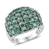 Kagem Zambian Emerald Platinum Over Sterling Silver Ring (Size 9.0) TGW 4.400 cts.