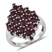 Anthill Garnet Platinum Over Sterling Silver Cluster Ring (Size 6.0) TGW 4.500 cts.
