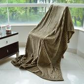 Brown 100% Microfiber Flannel Cord Jacquard Blanket (59x79 in)