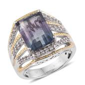 Bi-color Fluorite, White Topaz 14K YG and Platinum Over Sterling Silver Ring (Size 6.0) TGW 10.05 cts.