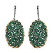 Kagem Zambian Emerald 14K YG and Platinum Over Sterling Silver Cluster Lever Back Earrings TGW 10.04 cts.