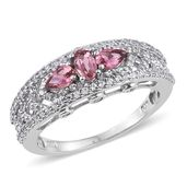 Morro Redondo Pink Tourmaline, White Zircon Platinum Over Sterling Silver Openwork Ring (Size 7.0) TGW 1.67 cts.