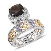 Chocolate Sapphire, Tanzanite, White Topaz 14K YG and Platinum Over Sterling Silver Dangle Band Ring (Size 10.0) TGW 8.230 cts.