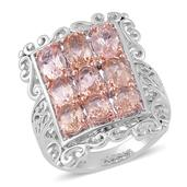 Marropino Morganite, White Topaz 14K RG and Platinum Over Sterling Silver Ring (Size 7.0) TGW 3.700 cts.