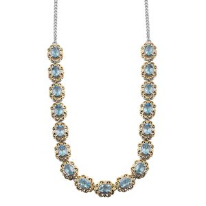 Madagascar Paraiba Apatite 14K YG and Platinum Over Sterling Silver Princess Necklace (18 in) TGW 8.00 cts.