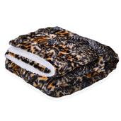 Luxury Reversible Leopard Sherpa and Faux Fur Throw (50x60 in)