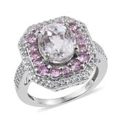 XIA Kunzite, Madagascar Pink Sapphire, White Topaz Platinum Over Sterling Silver Ring (Size 7.0) TGW 7.12 cts.