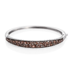 Jenipapo Andalusite Platinum Over Sterling Silver Bangle (7.50 in) TGW 5.745 Cts.