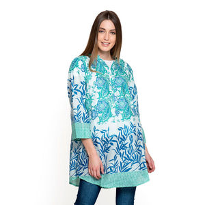 Green and Blue 100% Cotton Ruffled V-Neck Paisley Floral Button-up Tunic (Large)