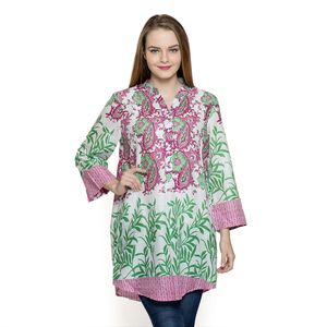 Multi Color Floral Pattern 100% Cotton Tunic (33.5x26.5 in)