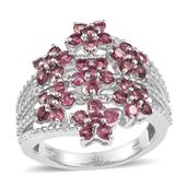 Pink Tourmaline, White Topaz Platinum Over Sterling Silver Openwork Bypass Floral Ring (Size 7.0) TGW 2.120 cts.
