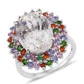 XIA Kunzite, Multi Gemstone Platinum Over Sterling Silver Ring (Size 8.0) TGW 14.890 cts.
