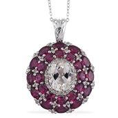 XIA Kunzite, Orissa Rhodolite Garnet, White Topaz Platinum Over Sterling Silver Pendant With Chain (20 in) TGW 12.59 cts.