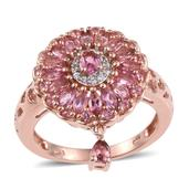 Pink Tourmaline, White Zircon 14K RG Over Sterling Silver Ring (Size 7.0) TGW 2.340 cts.