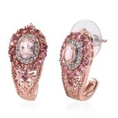 Marropino Morganite, Pink Tourmaline, White Zircon 14K RG Over Sterling Silver J-Hoop Earrings TGW 2.11 cts.