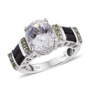 XIA Kunzite, Thai Black Spinel, Ambanja Demantoid Garnet Platinum Over Sterling Silver Ring (Size 6.0) TGW 7.600 cts.