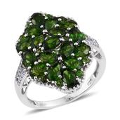 Russian Diopside, White Topaz Platinum Over Sterling Silver Split Cluster Ring (Size 6.0) TGW 5.52 cts.