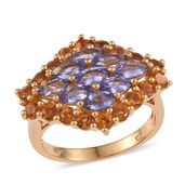 Tanzanite, Santa Ana Madeira Citrine 14K YG Over Sterling Silver Ring (Size 6.0) TGW 4.55 cts.