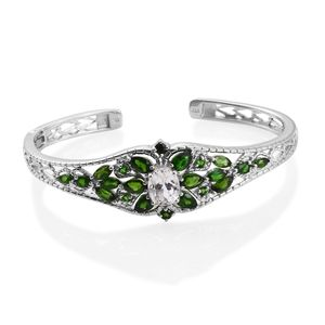 XIA Kunzite, Russian Diopside Platinum Over Sterling Silver Openwork Cuff (7.50 in) TGW 8.65 cts.