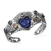 Artisan Crafted Lapis Lazuli, Multi Gemstone Sterling Silver Carved Face Openwork Cuff (7.50 in) TGW 25.54 cts.
