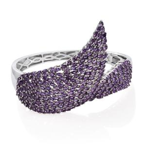Amethyst Platinum Over Sterling Silver Bypass Bangle (7.25 in) TGW 17.520 Cts.