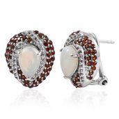 Ethiopian Welo Opal, Mozambique Garnet, White Topaz Platinum Over Sterling Silver Omega Clip Earrings TGW 2.83 cts.