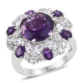 Lusaka Amethyst, White Topaz Platinum Over Sterling Silver Statement Ring (Size 6.0) TGW 11.110 cts.