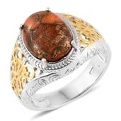 Mojave Orange Turquoise 14K YG and Platinum Over Sterling Silver Ring (Size 7.0) TGW 5.35 cts.