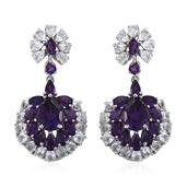 Lusaka Amethyst, White Topaz Platinum Over Sterling Silver Dangle Earrings TGW 17.140 Cts.
