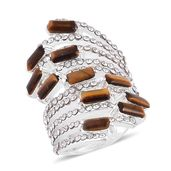 South African Tigers Eye, White Austrian Crystal Stainless Steel Elongated Bypass Ring (Size 10.0) TGW 10.00 cts.