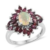 Ethiopian Welo Opal, Anthill Garnet Platinum Over Sterling Silver Ring (Size 7.0) TGW 2.90 cts.