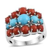 Arizona Sleeping Beauty Turquoise, Mediterranean Coral Platinum Over Sterling Silver Ring (Size 10.0) TGW 4.630 cts.