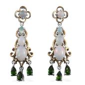 Ethiopian Welo Opal, Russian Diopside 14K YG and Platinum Over Sterling Silver Dangle Earrings TGW 4.50 cts.