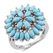 Arizona Sleeping Beauty Turquoise, Mozambique Garnet Platinum Over Sterling Silver Cluster Split Ring (Size 7.0) TGW 4.690 cts.