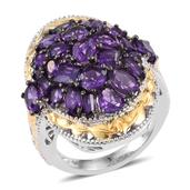 Lusaka Amethyst 14K YG and Platinum Over Sterling Silver Statement Cluster Ring (Size 7.0) TGW 6.930 cts.