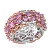 Madagascar Pink Sapphire 14K RG Over and Sterling Silver Cluster Band Ring (Size 7.0) TGW 4.850 cts.