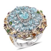 Madagascar Paraiba Apatite, Multi Gemstone 14K YG and Platinum Over Sterling Silver Openwork Statement Ring (Size 9.0) TGW 8.31 cts.