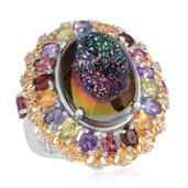 Rainbow Drusy Quartz, Multi Gemstone 14K YG and Platinum Over Sterling Silver Statement Ring (Size 6.0) TGW 13.18 cts.