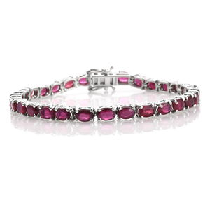 Niassa Ruby Platinum Over Sterling Silver Tennis Bracelet (7.50 In) TGW 19.50 cts.