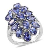 Tanzanite Platinum Over Sterling Silver Ring (Size 7.0) TGW 6.75 cts.