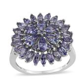 Tanzanite Platinum Over Sterling Silver Ring (Size 7.0) TGW 3.55 cts.