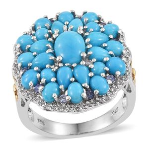 Arizona Sleeping Beauty Turquoise, Tanzanite, White Topaz Platinum Over Sterling Silver Ring (Size 7.0) TGW 6.24 cts.