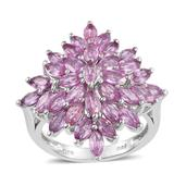Madagascar Pink Sapphire Platinum Over Sterling Silver Ring (Size 8.0) TGW 5.72 cts.