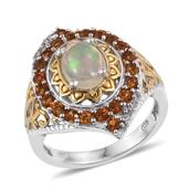 Ethiopian Welo Opal, Santa Ana Madeira Citrine, White Topaz 14K YG and Platinum Over Sterling Silver Openwork Ring (Size 9.0) TGW 2.350 cts.