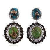 Mojave Blue and Green Turquoise, Brazilian Smoky Quartz, White Topaz Platinum Over Sterling Silver Earrings TGW 10.86 cts.