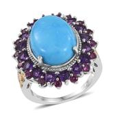 Arizona Sleeping Beauty Turquoise, Amethyst, Orissa Rhodolite Garnet 14K YG and Platinum Over Sterling Silver Ring (Size 7.0) 0 TGW 9.600 cts.