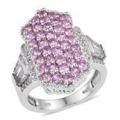 White Topaz, Madagascar Pink Sapphire Platinum Over Sterling Silver Elongated Cluster Ring (Size 8.0) TGW 4.570 cts.