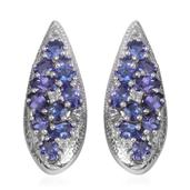 Premium AAA Tanzanite, White Topaz Platinum Over Sterling Silver Drop Earrings TGW 4.58 cts.