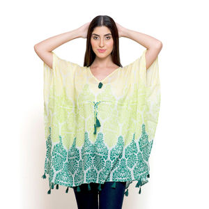 Lime and Green 100% Cotton V-Neck Poncho with Tassels (Free Size)